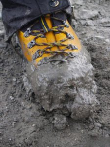 Muddy hiking boots