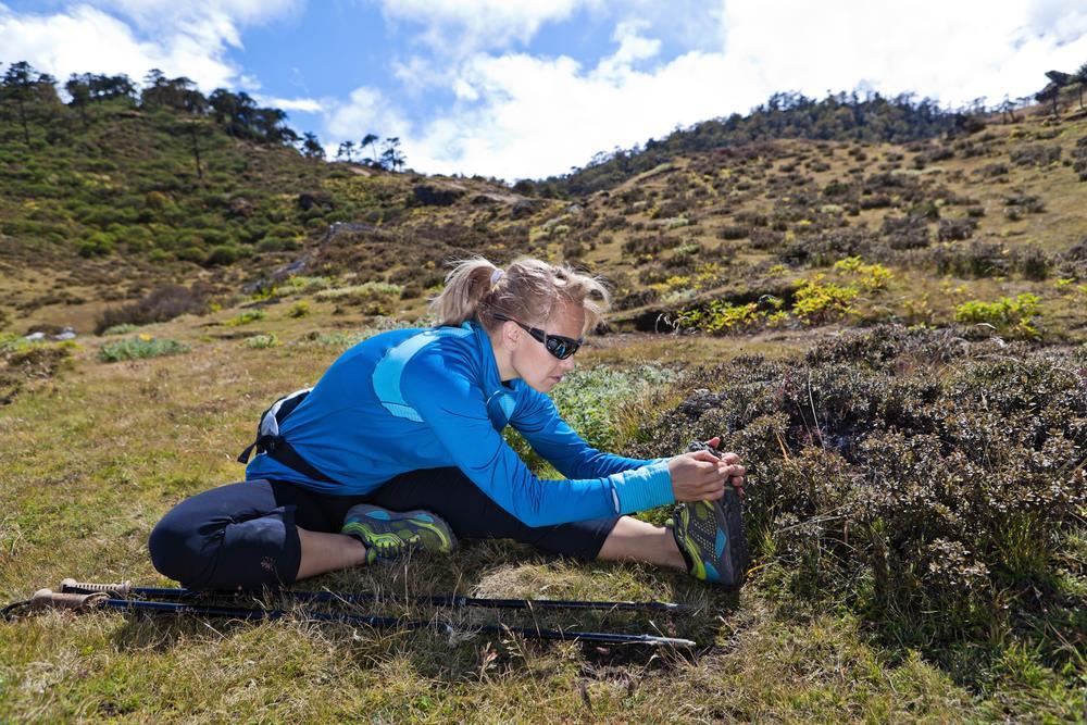 Hiker stretching