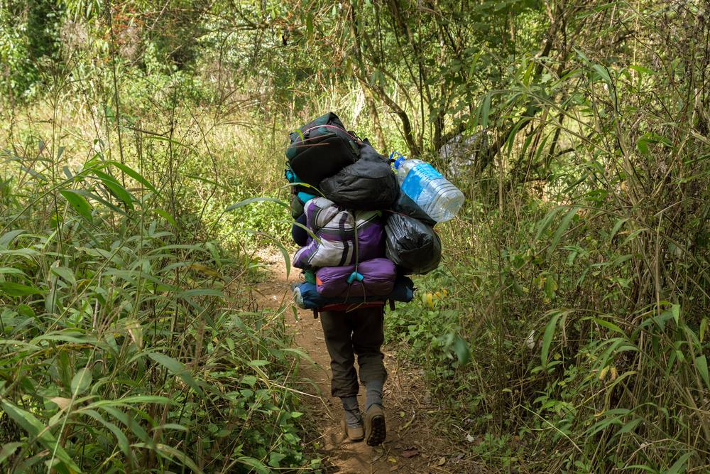 Hiker with heavy load
