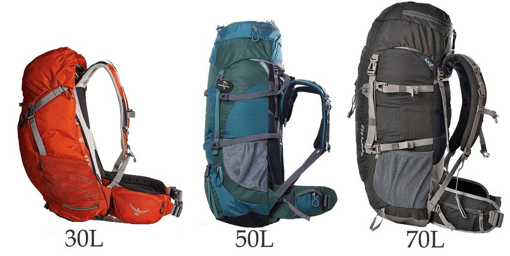 Hiking backpack capacities