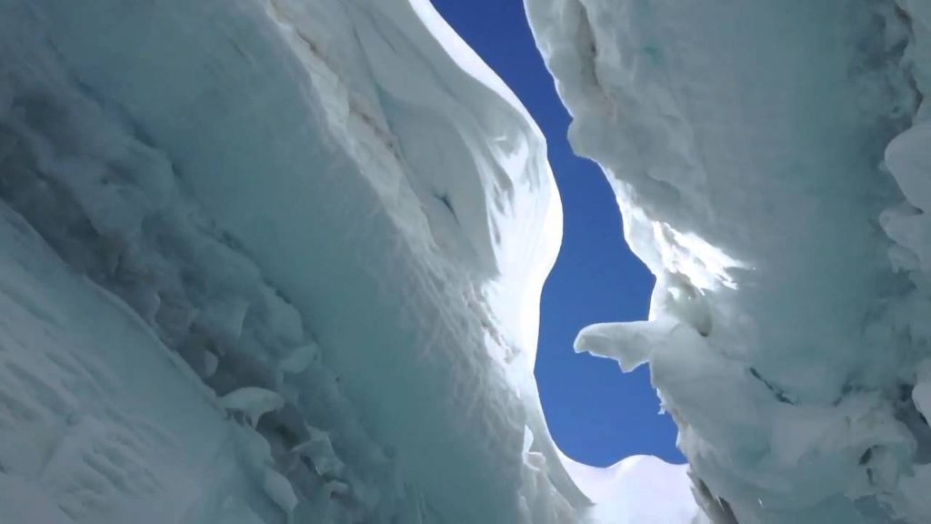Inside a crevasse