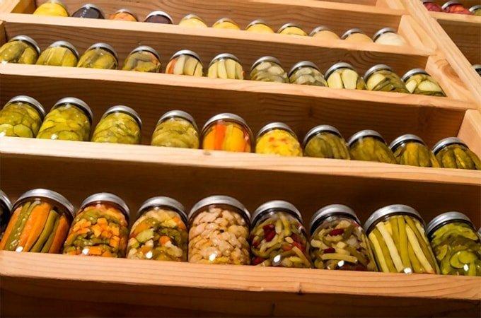 Foods in jars on shelves