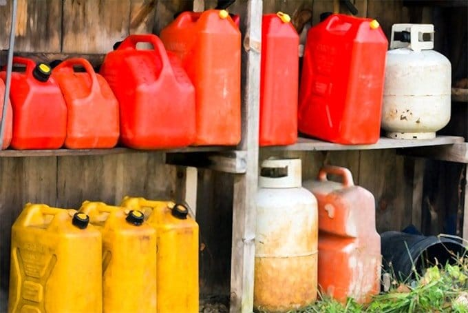Gasoline jerry cans and propane tanks