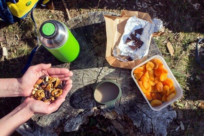 Hiking food dried fruits nuts