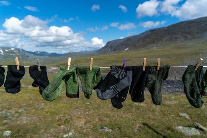 Hiking socks drying on a line