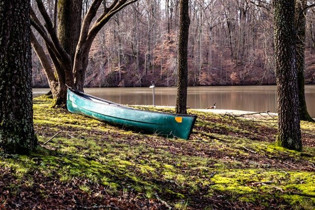 Canoe near lake